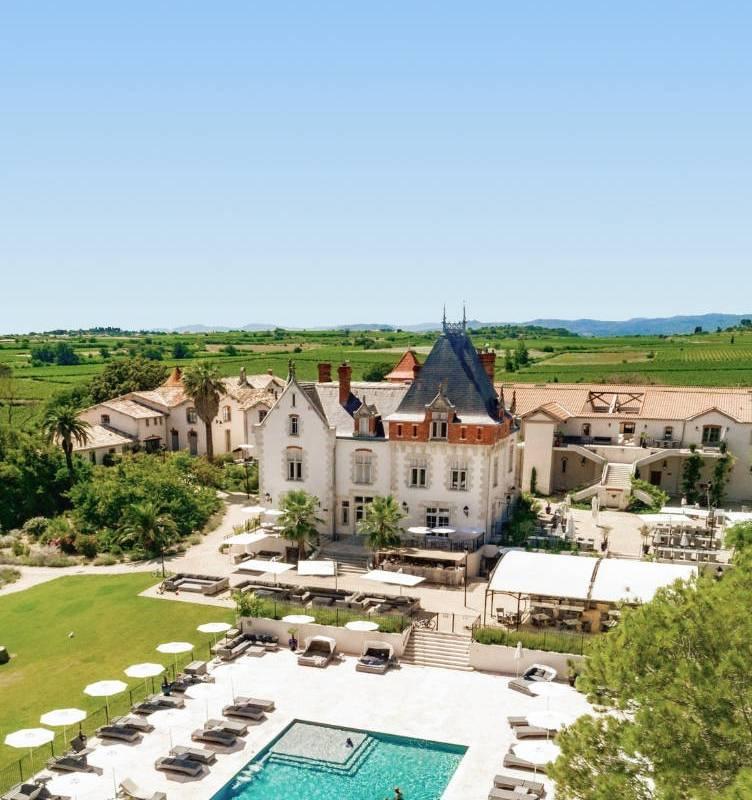 View of Domaine St Pierre de Serjac, vineyards in Languedoc, Domaine & Demeure events.