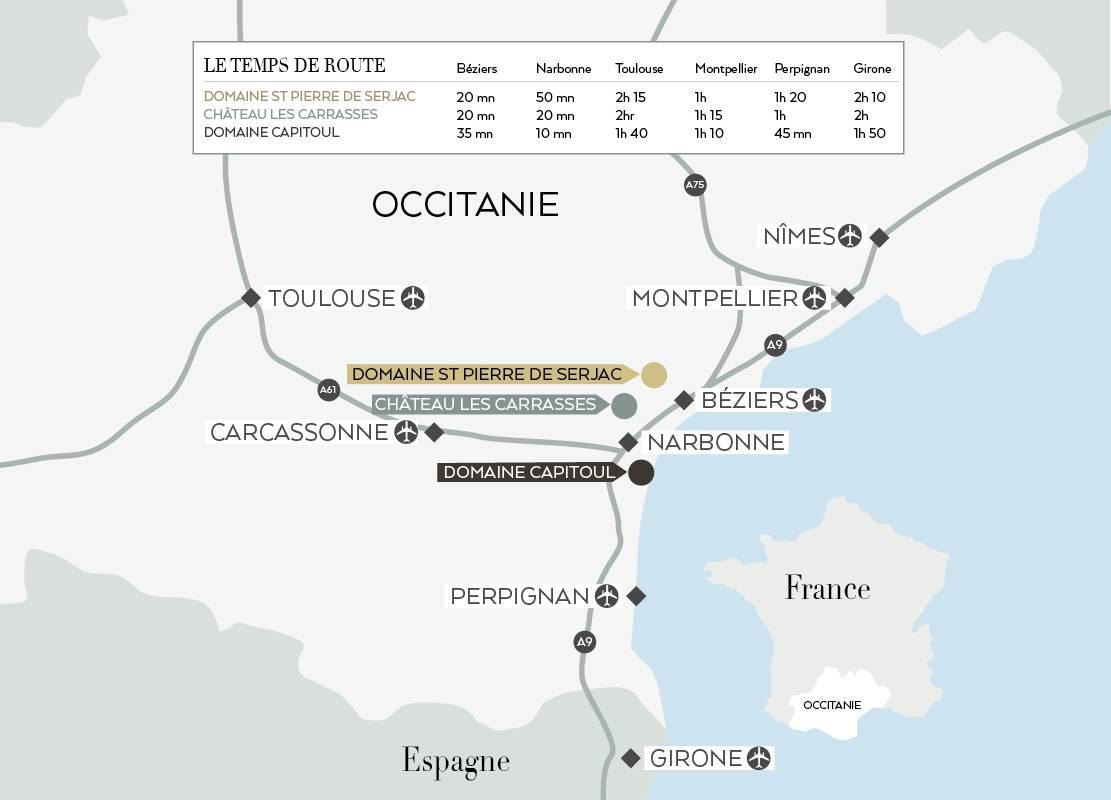 Carte pour accéder à nos établissements, séminaire Languedoc Roussillon, Domaine & Demeure Events